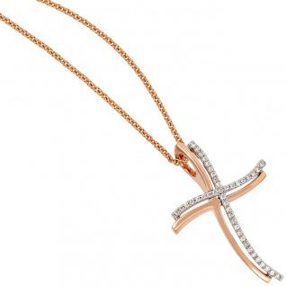 Anhänger Kreuz 585 Gold Weißgold Rotgold bicolor 42 Diamanten Brillanten