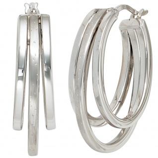 Creolen 925 Sterling Silber mattiert mit Glitzereffekt Ohrringe Silbercreolen