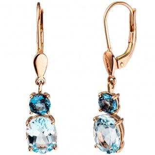 Boutons 585 Gold Rotgold 4 Blautopase hellblau blau Ohrringe Ohrhänger