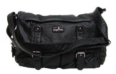 Angel kiss AK3036 modische Umhänge Tasche schwarz Leder Look, Shopper, 2 Hauptfächer, langer Trageriemen, 34x27x12 cm