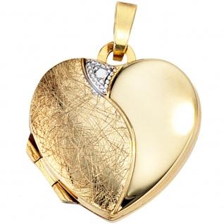 Medaillon Herz 333 Gold Gelbgold eismatt Anhänger zum Öffnen für 2 Fotos