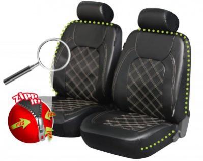 Zipp IT edle Universal Soft Kunstleder Auto Reißverschluss Vordersitz Sitzbezüge schwarz waschbar, 4-teilig