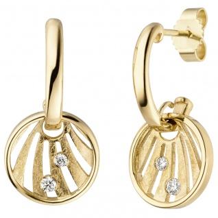 Ohrhänger 585 Gold Gelbgold eismatt 4 Diamanten Brillanten Ohrringe