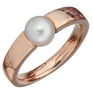 Damen Ring 585 Gold Rotgold 1 Süßwasser Perle Goldring Perlenring