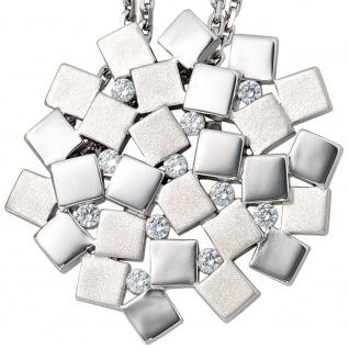 Anhänger 925 Sterling Silber rhodiniert mattiert 11 Zirkonia - Vorschau 3
