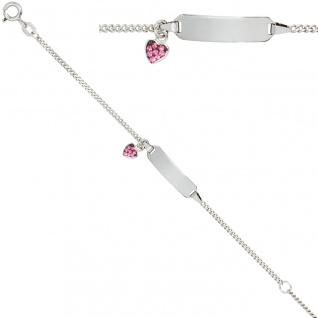 Schildband Herz 925 Sterling Silber mit rosa Glasstein 14 cm Gravur ID Armband