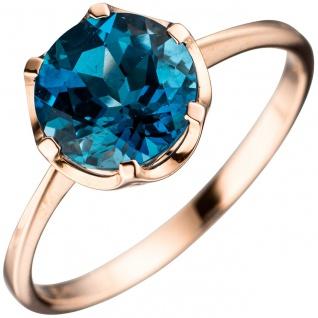 Damen Ring 585 Gold Rotgold 1 Blautopas blau London blue Goldring Rotgoldring