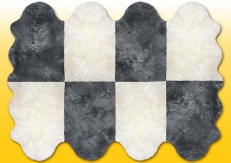 Fellteppiche naturweiß-grau aus 8 Lammfellen, Größe ca. 185 x 235 cm, 30 Grad ...