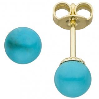 Ohrstecker 585 Gold Gelbgold 2 Türkise Ohrringe Goldohrringe Türkisohrstecker