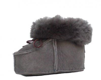 warme Lammfell Babyschuhe grau mit Fellkragen und Kordel, Gerbung ohne schädliche Stoffe, Gr. 21-22 - Vorschau 2