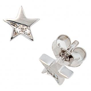 Ohrstecker Stern 585 Gold Weißgold matt 1 Diamant Brillant 0, 022ct. Ohrringe