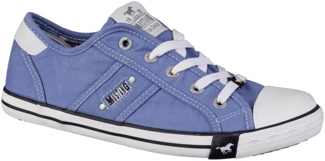 MUSTANG Sneaker Damen Canvas Sneakers hellblau, Textilfutter, softe Decksohle