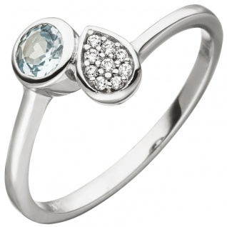 Damen Ring 925 Silber 1 Blautopas hellblau blau 9 Zirkonia