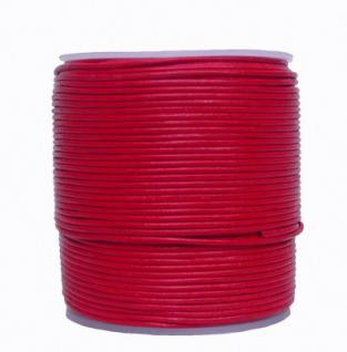 endlos Ziegenleder Rundlederriemen Rolle rot, für Lederschmuck, Lederarmbänder, Länge 100 m, Ø 1, 5 mm