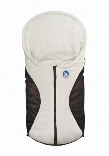 molliger Baby Winter Fleece Fußsack moccabraun, für Tragschalen, Autositze, c...