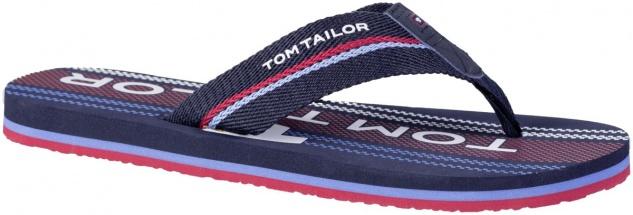 TOM TAILOR Herren Textil Pantoletten mit Zehensteg navy, softes Fußbett