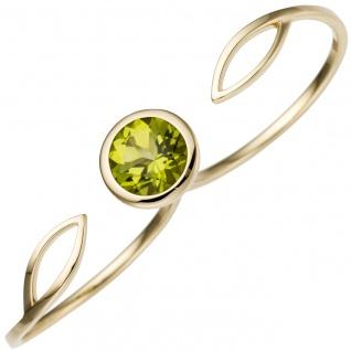 Damen Zweifinger Ring 585 Gold Gelbgold 1 Peridot grün Goldring Zweifingerring