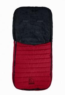 Baby Übergangs Stepp Fleece Fußsack für kühle Tage rot waschbar, für Kinderwagen, Buggy, ca. 91x43 cm, 6 Gurtschlitze