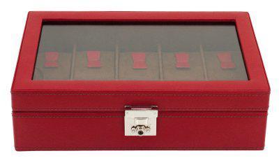 Friedrich Lederwaren Damen Leder Uhrenkasten für 10 Uhren rot, Schloss, Glaseinsatz, Serie Cordoba, ca. 29x18, 5x8, 5 cm