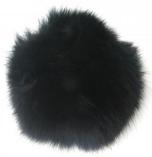 Echt Fuchsfell Fellbommeln schwarz, Ø ca. 10 cm, mit Band oder Schlaufe