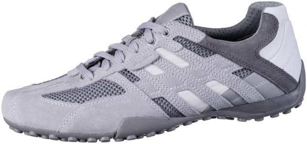GEOX Herren Leder Sneakers light grey, Meshfutter, atmungsaktive Geox Laufsohle