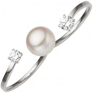 Damen Zweifinger Ring 333 Gold Weißgold 1 Süßwasser Perle 2 Zirkonia Perlenring