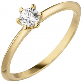 Damen Ring 585 Gold Gelbgold 1 Diamant Brillant 0, 25 ct. Diamantring Solitär