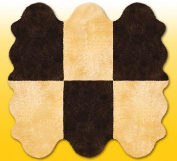 Fellteppiche beige-braun aus 6 Lammfellen, Größe ca. 185 x 180 cm, 30 Grad wa...