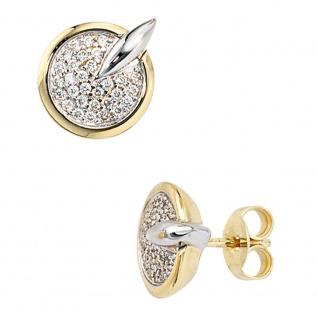 Ohrstecker 585 Gold Gelbgold Weißgold bicolor 60 Diamanten Brillanten Ohrringe