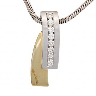Anhänger 585 Gold Weißgold Gelbgold bicolor 8 Diamanten Brillanten Goldanhänger - Vorschau 3
