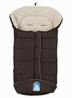 molliger Baby Winter Fleece Fußsack moccabraun-sand, voll waschbar, für Kinderwagen, Buggy, ca. 98x47cm