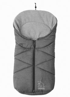molliger Baby Winter Fleece Fußsack grau meliert, für Tragschalen, Autositze,...