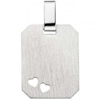 Anhänger Herz Herzen Gravur Gravurplatte eckig 925 Silber matt Silberanhänger