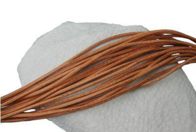 10 Stück Rindleder Rundriemen natur, geschnitten, für Lederschmuck, Lederketten, Länge 100 cm, Ø 2 mm