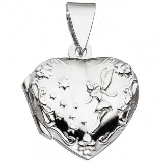 Medaillon Herz für 2 Fotos 925 Sterling Silber Anhänger zum Öffnen - Vorschau 2