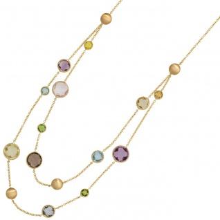 Collier Halskette 585 Gold Gelbgold mit verschiedenen bunten Edelsteinen 45 cm
