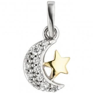Anhänger Mond Stern 925 Silber bicolor vergoldet 11 Zirkonia