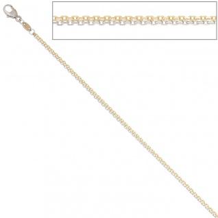 Ankerkette 2-reihig 585 Gelbgold Weißgold 45 cm Gold Kette Weißgoldkette