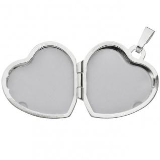 Medaillon Herz für 2 Fotos Herz 925 Sterling Silber eismatt Anhänger zum Öffnen - Vorschau 4