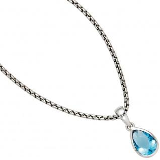 Anhänger Tropfen 925 Sterling Silber rhodiniert 1 Zirkonia blau