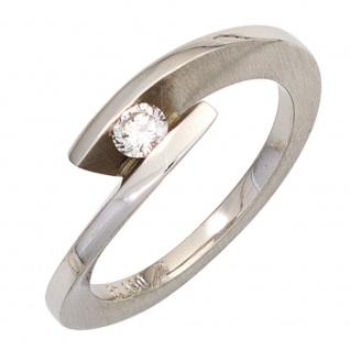 Damen Ring 950 Platin matt 1 Diamant Brillant 0, 15ct. Platinring