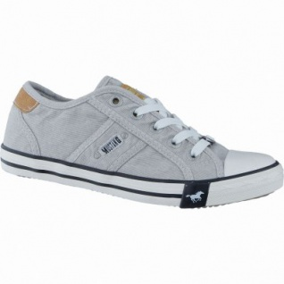 Mustang coole Mädchen Canvas Sneakers Low hellgrau, Mustang-Laufsohle, 3338120/33
