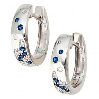 Creolen 585 Gold Weißgold 18 Diamanten Brillanten 14 Safire blau Ohrringe