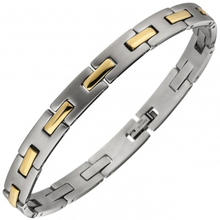 Armband Edelstahl bicolor teil matt 21 cm