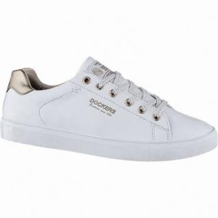 Dockers sportliche Damen Synthetik Sneakers weiss gold, herausnehmbares Dockers Fußbett, 1240214