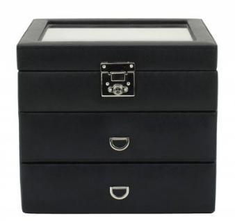 Friedrich Lederwaren Kunstleder Uhrenkasten schwarz 24 Uhren, Glaseinsatz, 2 Schubladen, schwarz, Serie Redford, ca. 22x19x20 cm