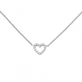 Collier Halskette Herz 925 Sterling Silber mit Zirkonia 42 cm Kette Silberkette