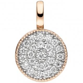 Anhänger 585 Gold Rotgold 24 Diamanten Brillanten