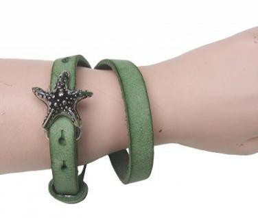 Boom Belts cooles Damen, Herren echt Leder Armband grün, Unisex Leder Wickel Armband, ca. 43x1 cm, für 1 cm Schließen