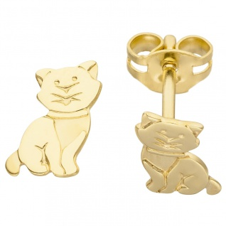 Ohrstecker Katze 333 Gold Gelbgold Ohrringe Goldohrringe Katzenohrringe